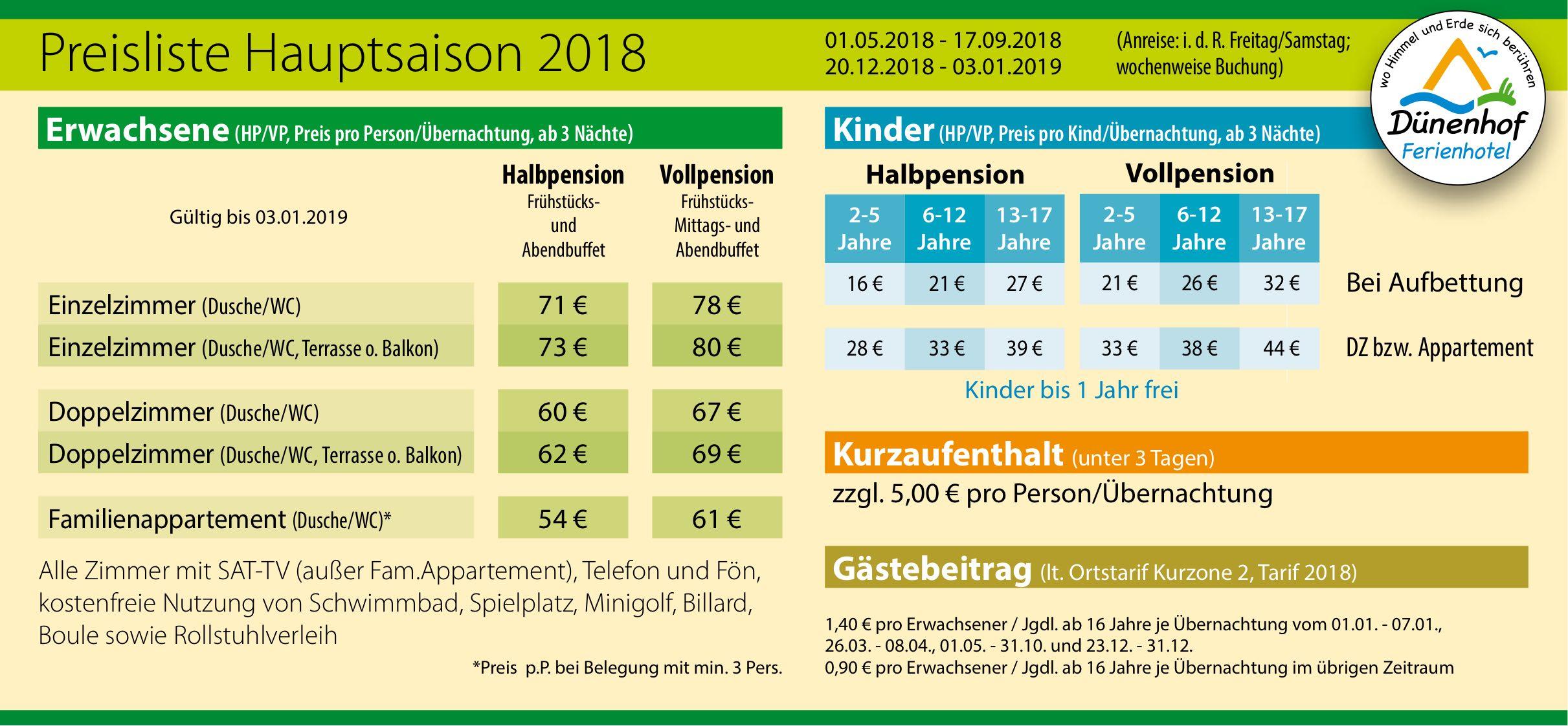 Hauptsaison Preise Dünenhof Ferienhotel