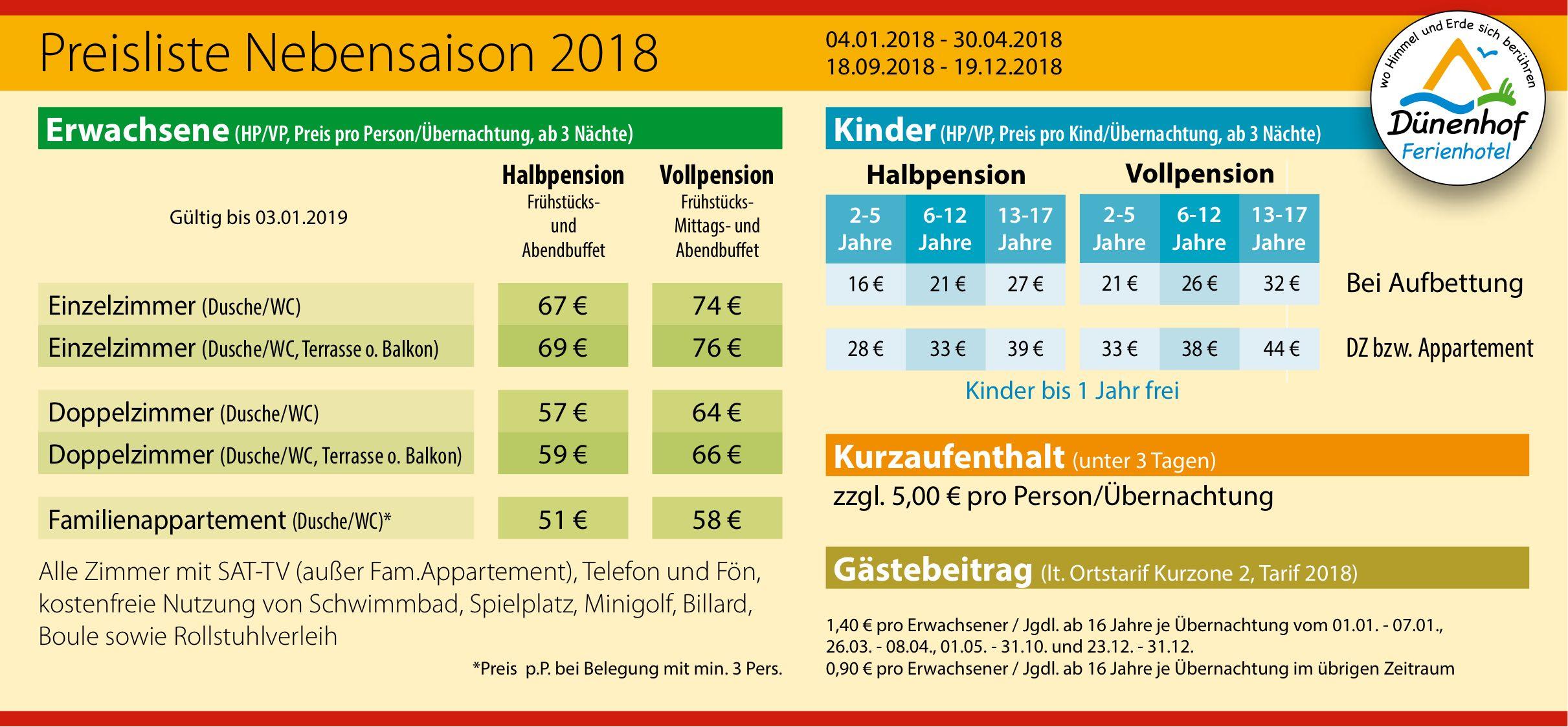 Nebensaison Preise Dünenhof Ferienhotel